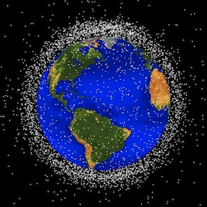 Map of space debris in low-earth orbit